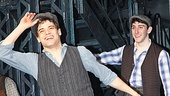 Star Jeremy Jordan is thrilled to take his first official Broadway bow as Jack Kelly while Ben Fankhauser looks on.