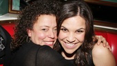 New Wicked star Lindsay Mendez gets a huge welcome from the show's assistant director, Lisa Leguillou.