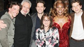 Christian Borle, Matthew Morrison and Patti LuPone head backstage at Kinky Boots to congratulate writer Harvey Fierstein and Tony-nominated stars Billy Porter and Stark Sands.