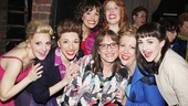 Here's one for the ladies! Kinky gals Annaleigh Ashford, Ellyn Marie Marsh, Caroline Bowman, Adinah Alexander, Jennifer Perry and Celina Carvajal score a photo op with Patti LuPone.