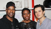 Denzel Washington steps backstage to greet Romeo and Juliet headliners Condola Rashad and Orlando Bloom.