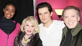 Romeo and Juliet headliners Condola Rashad and Orlando Bloom welcome Joan Rivers and playwright/performer Charles Busch backstage at the Richard Rodgers Theatre.