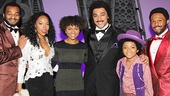 Syesha Mercado (c.) takes a snapshot backstage with Motown stars Brandon Victor Dixon, Dionne Figgins (on for Felicia Boswell as Diana Ross), Charl Brown, Prince Maynard and Jarran Muse (on for Bryan Terrell Clark as Marvin Gaye).