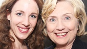 Beautiful: The Carole King Musical headliner Jessie Mueller (Carole King) with Hillary Clinton.