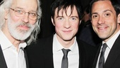 Three handsome leading men! Tony winner Steve Kazee (r.) catches up with Pippin stars Terrence Mann and Matthew James Thomas (c.).