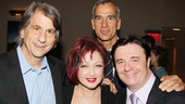 Kinky Boots set designer David Rockwell smiles with composer Cyndi Lauper and Jerry Mitchell…and just for the heck of it, there's Nathan Lane!