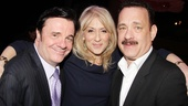 Winner Nathan Lane gets some hearty congratulations from Assembled Parties star Judith Light and Lucky Guy's Tom Hanks.