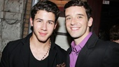 Michael Urie receives opening night support from his How to Succeed in Business Without Really Trying co-star Nick Jonas.