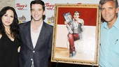 Happy birthday! Radio personality Valerie Smaldone and Tony's DiNapoli manager Bruce Dimpflmaier present the new work of art to Buyer & Cellar star Michael Urie…