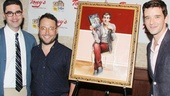 Buyer & Cellar playwright Jonathan Tolins, director Stephen Brackett and star Michael Urie rally around the painting.