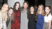 Look at all those princesses! Sutton Foster gets between the actresses who played younger versions of Princess Fiona (from left): Tessa Albertson, Rachel Resheff, Marissa O'Donnell, Maya Goldman, Leah Greenhaus and Rozi Baker.