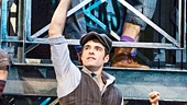 Corey Cott as Jack Kelly and the cast of Newsies. Photo by Matthew Murphy