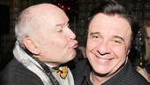 Guys and Dolls director Jack O'Brien gives Nathan Lane a smooch.