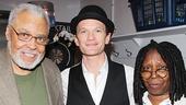 James Earl Jones and Whoopi Goldberg flank Hedwig star Neil Patrick Harris.