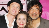 Hedwig star Neil Patrick Harris takes a snapshot with playwright David Henry Hwang and his wife Kathryn Layng.