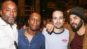 Hamilton - backstage - 8/15 - Lee Daniels, Leslie Odom Jr, Lin-Manuel Miranda and Lenny Kravitz