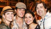 Hamilton - backstage - 8/15 - Kelli O'Hara, Steven Pasquale, Phillipa Soo and Greg Naughton
