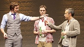 Lee Pace as Bruce Niles, Jim Parsons as Tommy Boatwright, Joe Mantello as Ned Weeks and Patrick Breen as Mickey Marcus in The Normal Heart.