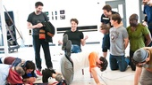 Peter and the Starcatcher Rehearsal – Christian Borle and the human stool
