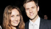 Broadway faves turned TV stars Laura Benanti and Aaron Tveit share a smile at the cocktail hour.