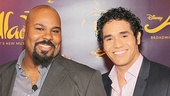 Aladdin co-stars James Monroe Iglehart and  Adam Jacobs hang out at the meet and greet.