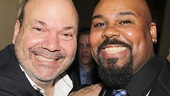 Director Casey Nicholaw pulls Aladdin star James Monroe Iglehart in for a photo.