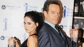 The Cripple of Inishmaan star Sarah Greene and All The Way's Bryan Cranston strike a bad-ass pose with their new trophies.