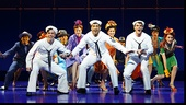 Jay Armstrong Johnson as Chip, Tony Yazbeck as Gabey, Clyde Alves as Ozzie and the cast of On the Town