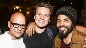 Hamilton - backstage - 8/15 - Kevin Sessums, Jonathan Groff and Lenny Kravitz