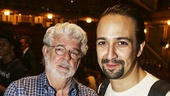 Hamilton - backstage - 8/15 - George Lucas and Lin-Manuel Miranda