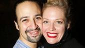 Hamilton - backstage - wide - 11/15 -  Lin-Manuel Miranda and Elizabeth Stanley