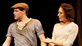 Melissa Van Der Schyff as Blanche Barrow, Claybourne Elder as Buck Barrow, Jeremy Jordan as Clyde Barrow and Laura Osnes as Bonnie Parker in Bonnie & Clyde.