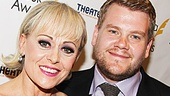 Drama Desk Award lead acting winners Tracie Bennett (End of the Rainbow) and James Corden (One Man, Two Guvnors) show off their bright Broadway smiles.