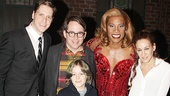 Kinky Boots stars Andy Kelso and Billy Porter hang out with Matthew Broderick, Sarah Jessica Parker and their son James Wilkie backstage.