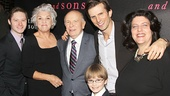 After the show, the Mothers and Sons family gathers for a photo: Bobby Steggert, Tyne Daly, playwright Terrence McNally, Grayson Taylor, Frederick Weller and director Sheryl Kaller.