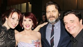 Guys and Dolls stars Sierra Boggess, Megan Mullally and Nathan Lane snap a photo with Mullally's husband, Parks and Recreation fave Nick Offerman.