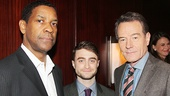 Stage and screen stars Denzel Washington (A Raisin in the Sun), Daniel Radcliffe (The Cripple of Inishmaan) and Bryan Cranston (All the Way) line up for a photo.