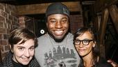 Hamilton - backstage - 8/15 - Lena Dunham, Okieriete Onaodowan and Rashida Jones