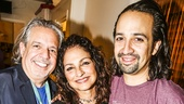 Hamilton - backstage - 9/15 - Luis A. Miranda, Jr - Gloria Estefan - Lin-Manuel Miranda