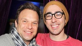 Two-time Tony winner Norbert Leo Butz and Disaster!'s Max Crumm relax after the show.
