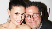 Idina Menzel gets a squeeze from If/Then director Michael Greif, who also helmed her very first Broadway musical Rent.