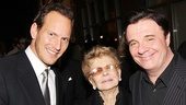 Patrick Wilson and Nathan Lane flank Jo Sullivan Loesser, widow of Guys and Dolls composer Frank Loesser.