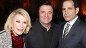 Red carpet fashionista Joan Rivers with Tony winner Nathan Lane and Act One star Tony Shalhoub.