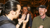 Hamilton - backstage - 8/15 - Aasif Mandvi and Ron Howard - Lin-Manuel Miranda