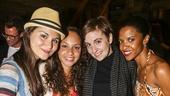 Hamilton - backstage - 8/15 - Phillipa Soo, Jasmine Cephas Jones and Renee Elise Goldsberry with Lena Dunham