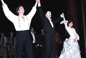 Photo Op - Phantom 8,000th Performance - cc - Michael Shawn Lewis - Howard McGillin - Jennifer Hope Wills