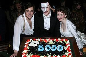 Photo Op - Phantom 8,000th Performance - Michael Shawn Lewis - Howard McGillin - Jennifer Hope Wills
